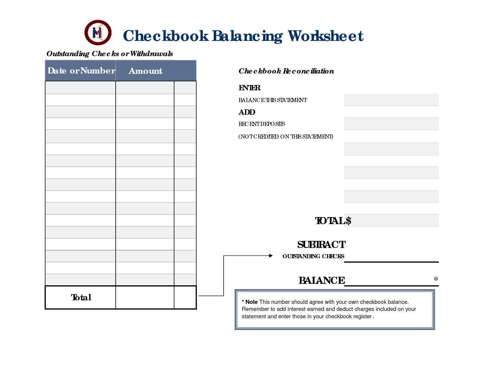 Checkbook Balancing Worksheets