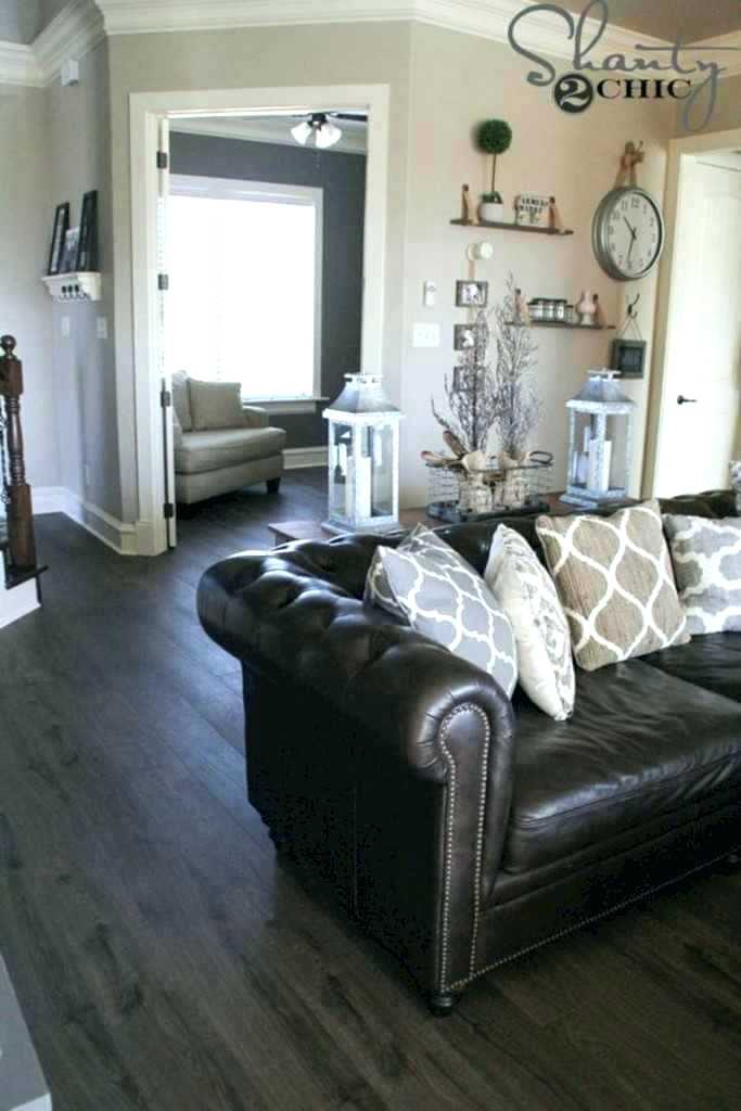 brown leather sofa light grey walls brown couch grey walls