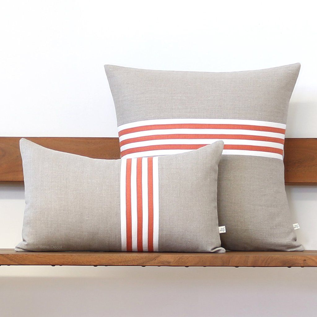Banded stripe pillow orange cream and natural pinterest