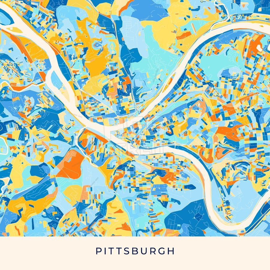 Pittsburgh On Map Of Usa.Pittsburgh Colorful Map Poster Template Maps Vector Downloads