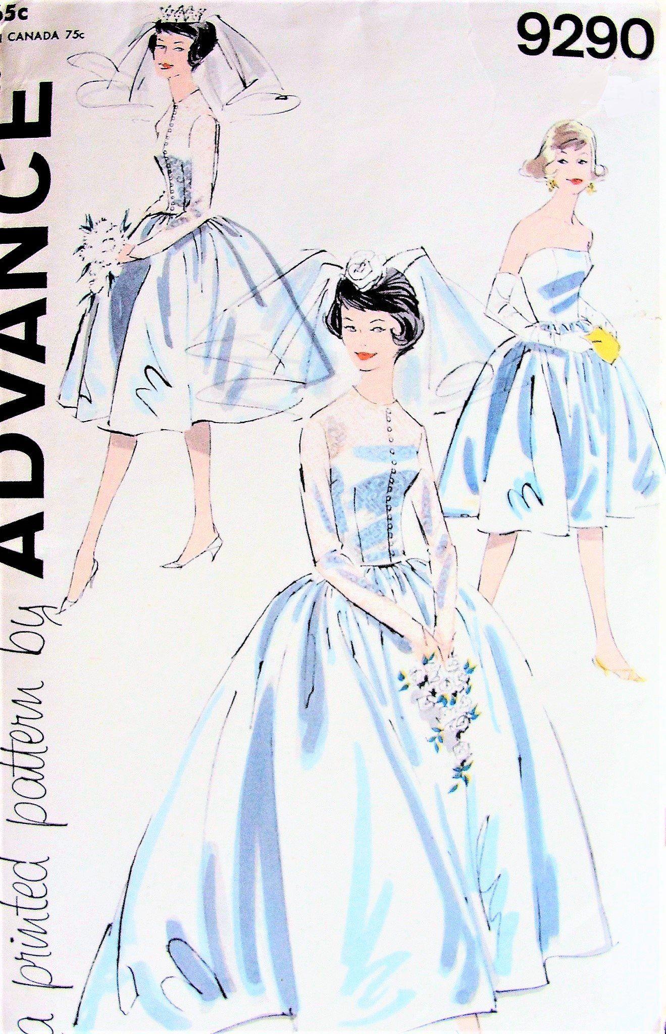 S lovely audrey style wedding bridal dress pattern advance