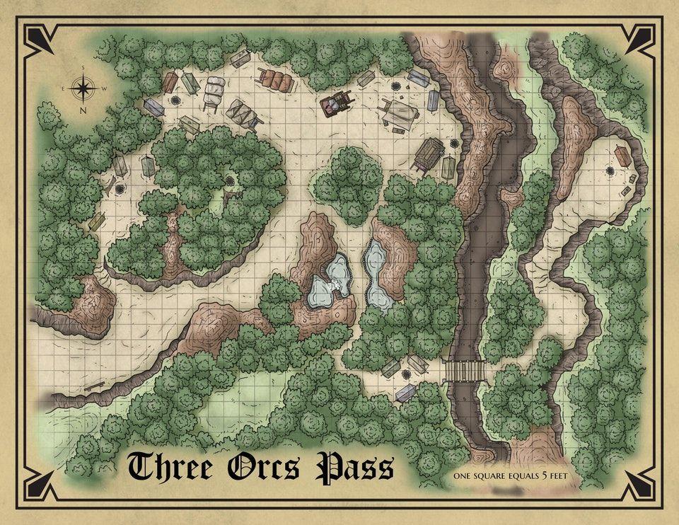 Three Orcs Pass : battlemaps | Rich's maps in 2019 | Dungeon maps