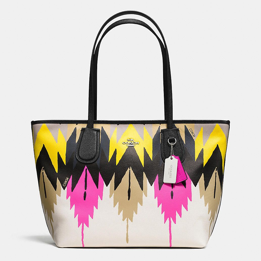 fde833c8ac ... netherlands coach taxi zip top tote in printed crossgrain leather 3d1b7  a40a9