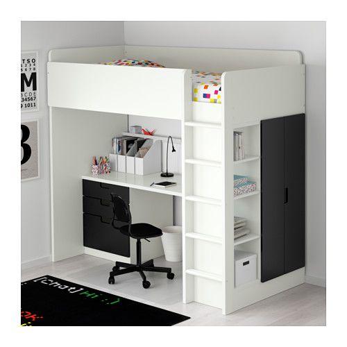 Kinderzimmer ikea stuva  STUVA Hoogslapercombi m 3 lades/2 deuren, wit, zwart wit/zwart ...