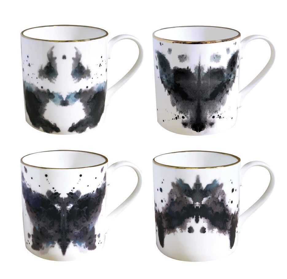 smart idea porcelain coffee mugs. Rorschach inspired ink blot mugs and plates in limited edition  Four different paintings Horse Butterfly Rabbit Fox Want these so hard beakers