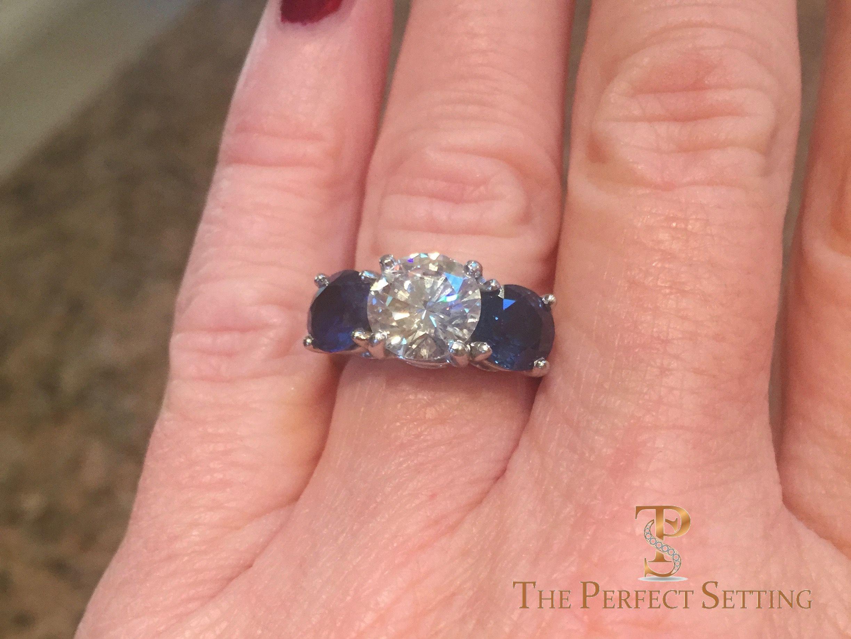 Stunning custom Three stone ring with 2ct diamond and 4ctw of ...