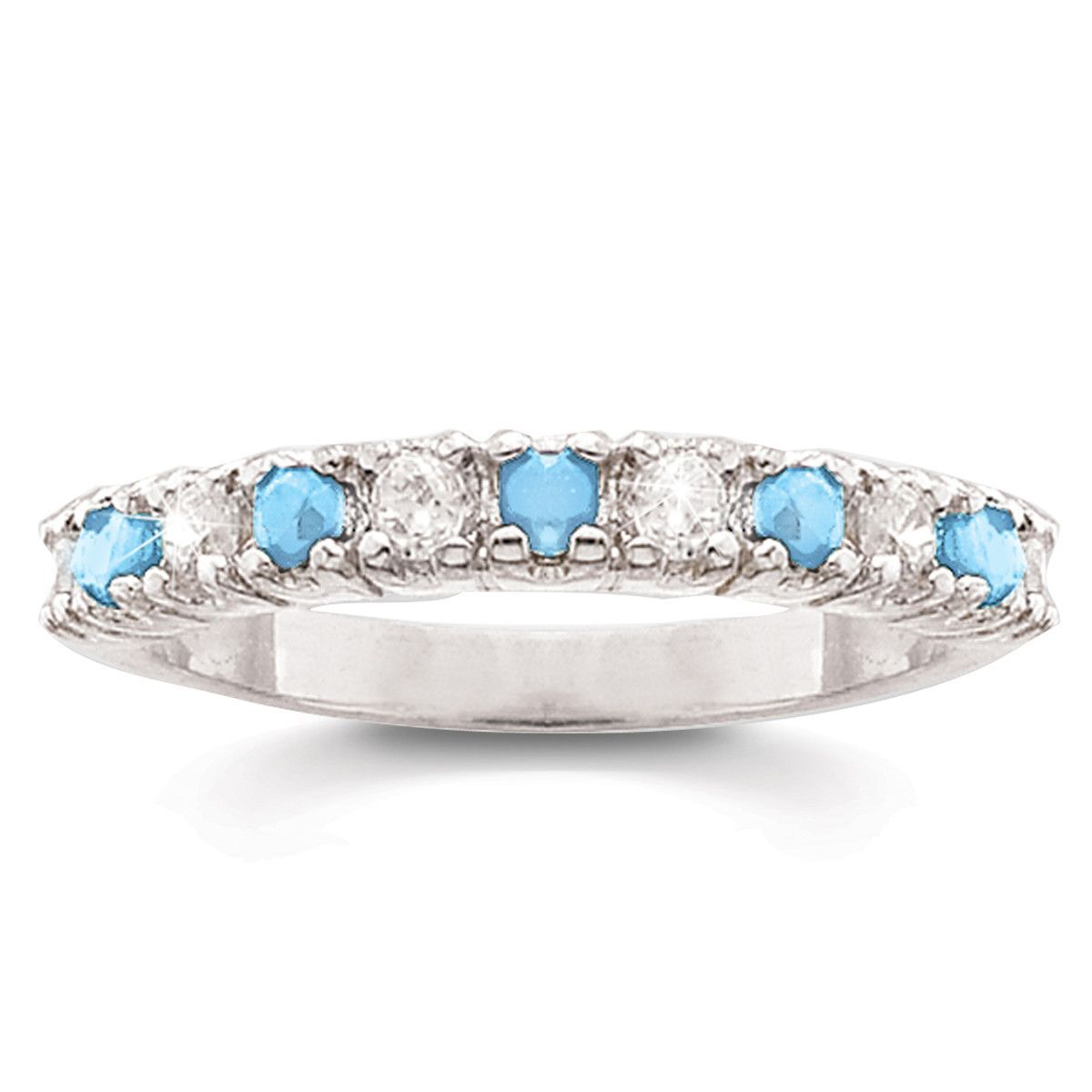 Sterling Silver Genuine Blue Topaz and White Topaz Pure Bliss Band Ring