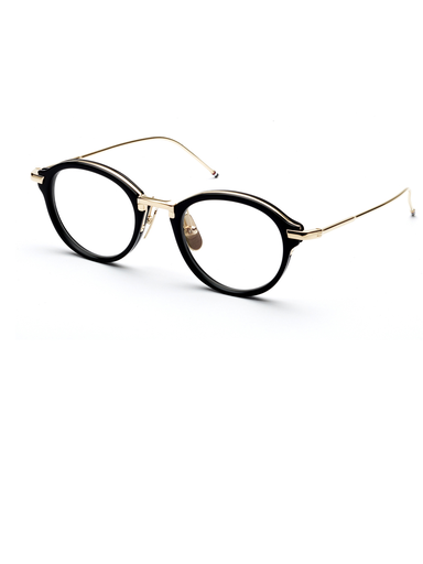 8e6599c9c173 THOM BROWNE OPTICAL GLASSES Handcrafted Black Acetate and Titanium Frame  Plated 12k Shiny Gold Titanium Temples Custom Titanium Nose Pads with Four  Stripe ...