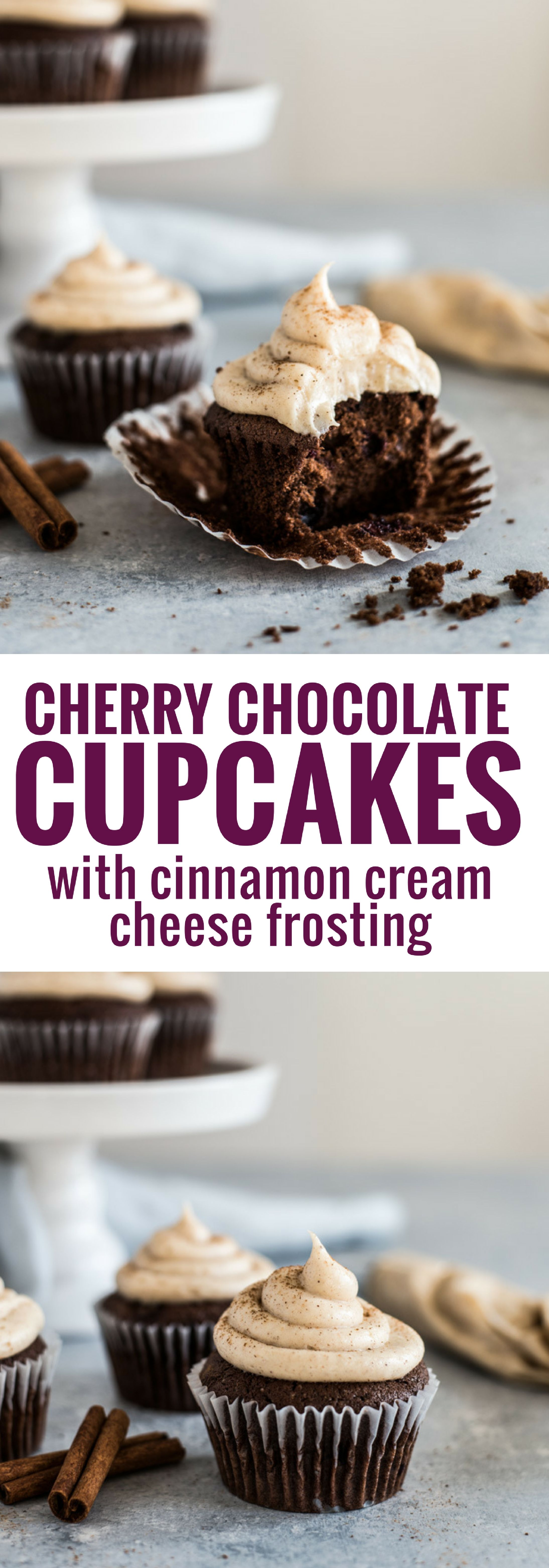 These Cherry Chocolate Cupcakes with Cinnamon Cream Cheese Frosting are decadent, fluffy and perfectly moist. Treat yourself! via @isabeleats