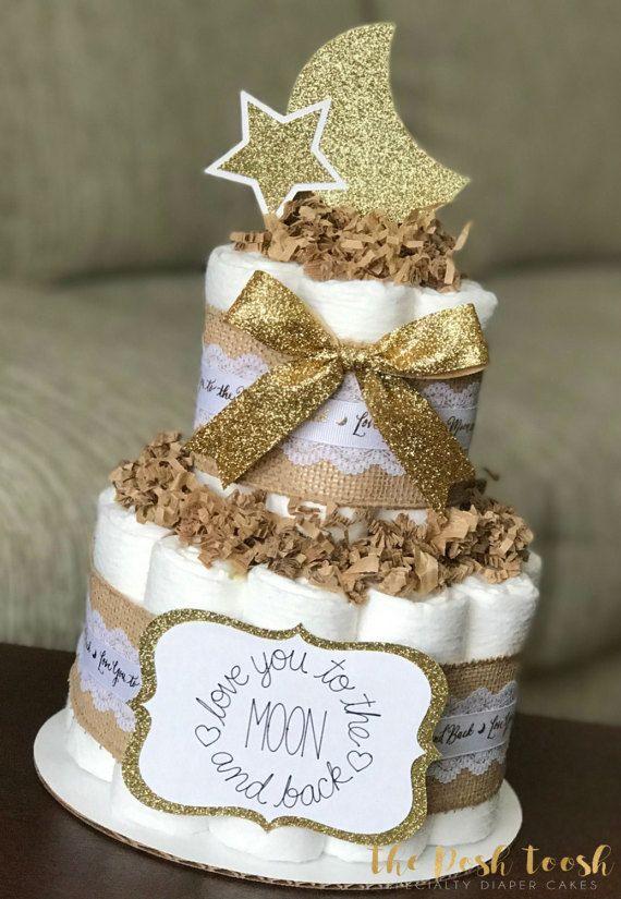 Moon Star Diaper Cake Baby Shower Centerpiece Decor Gift