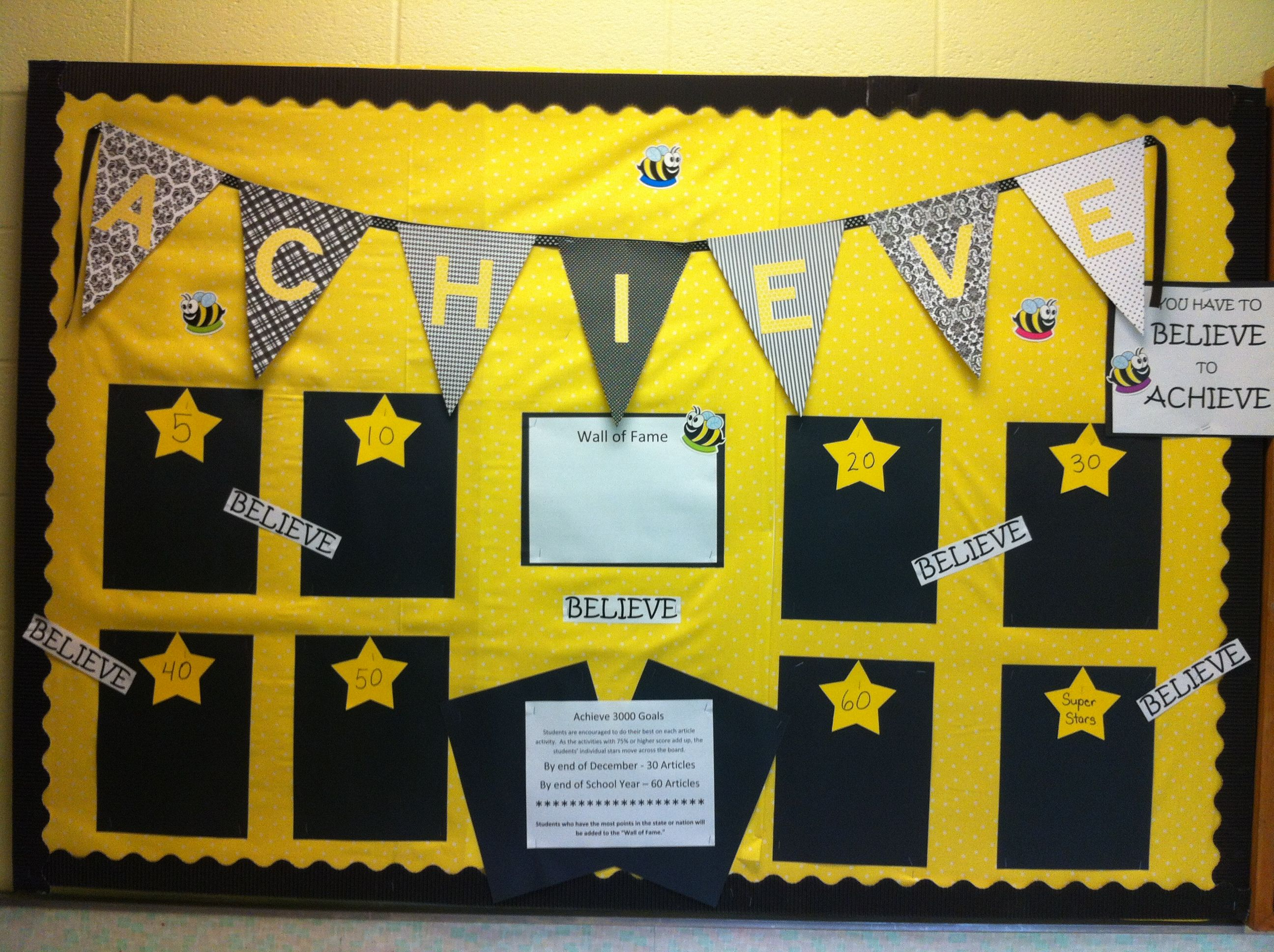 You have to believe to achieve. Achieve 3000 Goal Board | School ...