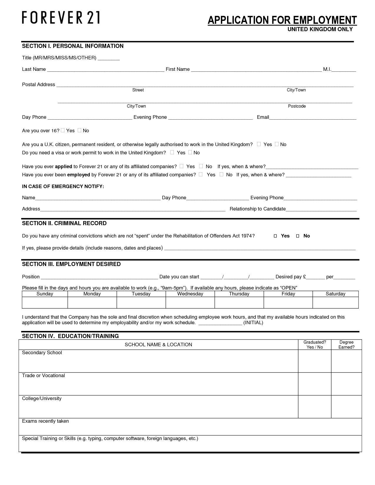 Forever  Application  Forever  Job Application Form