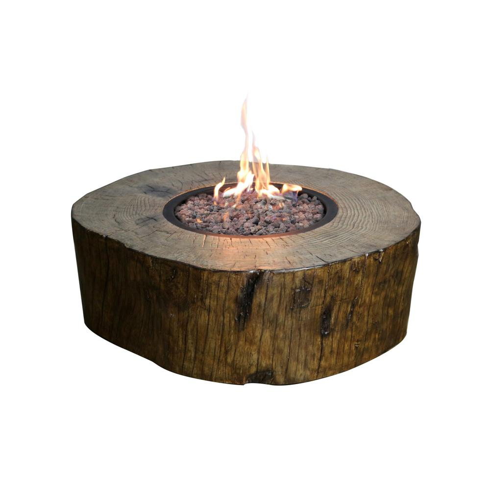 Modeno Blazing Timber 37 In Round Eco Stone Propane Fire Pit In