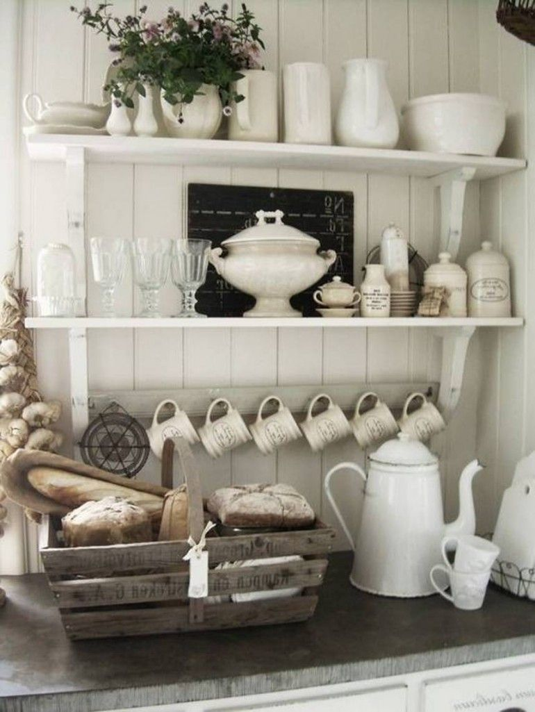Open Shelves Kitchen Design Ideas Part - 41: Farmhouse Kitchen. Cozy And Chic Open Shelves Kitchen Design Small Kitchen.  Coffee Bar.