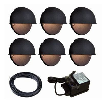 Portfolio 6 light black low voltage incandescent deck lights portfolio 6 light black low voltage incandescent deck lights landscape light kit at lowes aloadofball Images