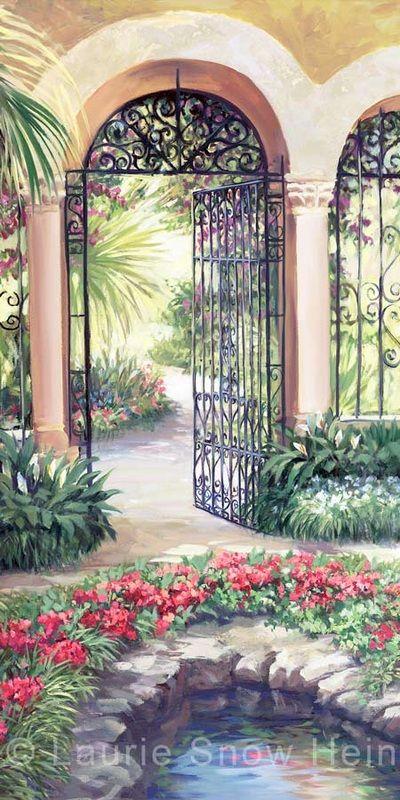 Laurie Snow Hein - Artiste Peintre Contemporaine - Huile - Jardin Tropical V