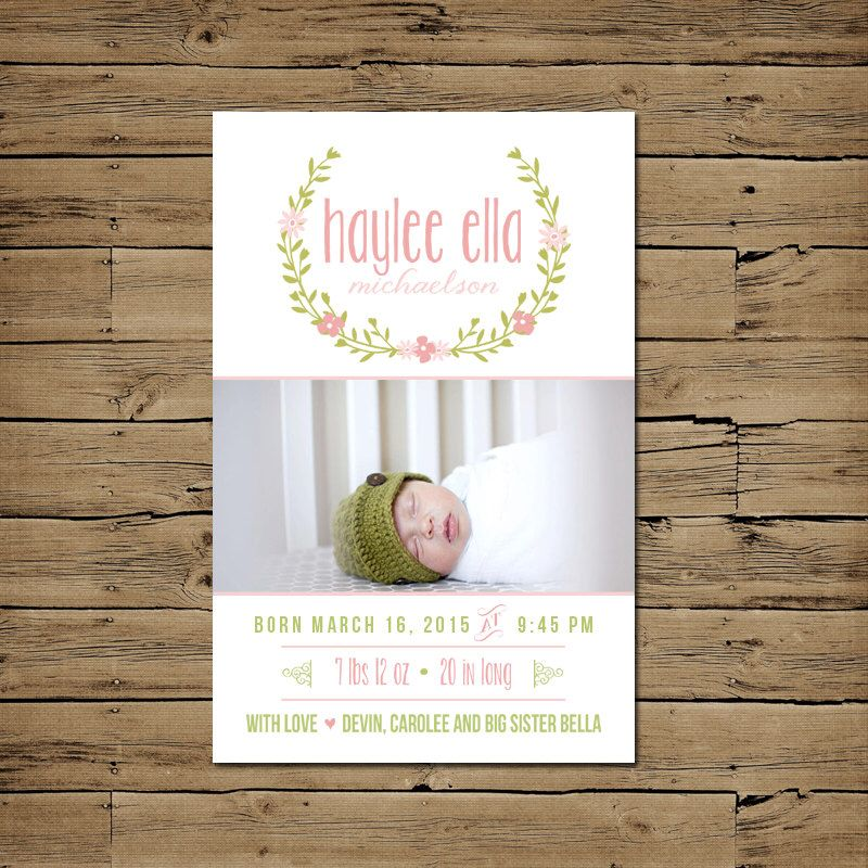 Birth Announcement Baby Announcement Girl Birth Card – Baby Announcement Cards Etsy