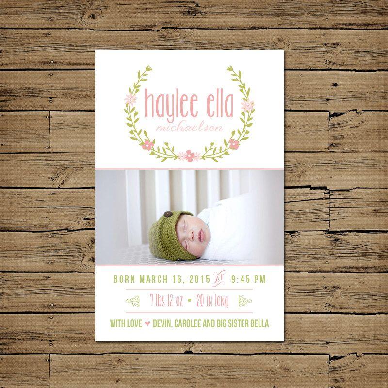 Birth Announcement Baby Announcement Girl Birth Card – Baby Announcement Cards Etsy