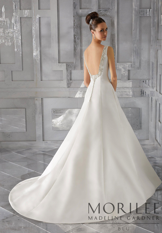 Morilee Madeline Gardner Malke Wedding Dress Modern Simple And Elegant This Duchess Satin A Line V Neck B Wedding Dresses Bridal Gowns Satin Bridal Gowns [ 2630 x 1834 Pixel ]