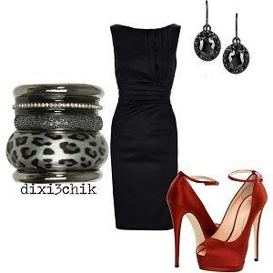 Black Arizona Dress, red Giuseppe Zanotti Shoes, leopard Bangle Set and Bottega Veneta earrings.
