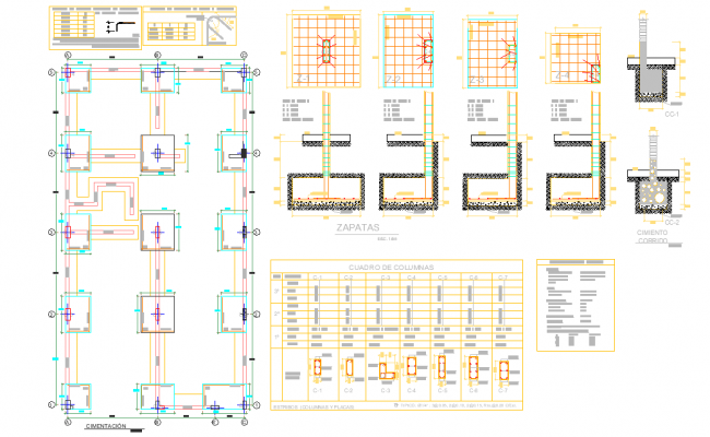 Foundation plan and section detail dwg file, centre line