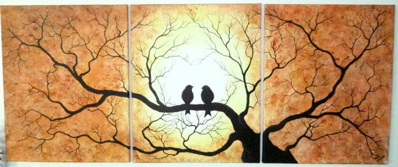 Group Of Three Paintings Birds On Tree Shades Of Orange Yellow And Brown Large 3 Piece Set 16 Quot X 20 Quot Can Painting Bird Wall Art Canvas Painting
