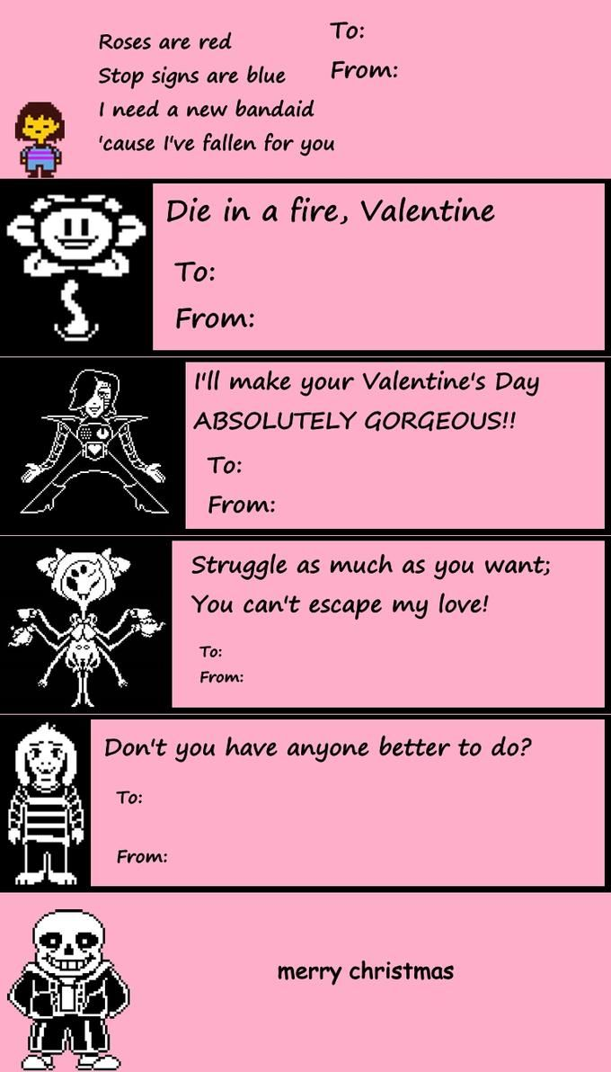Undertale ValentineS Day Cards  Video Games And Undertale Comic