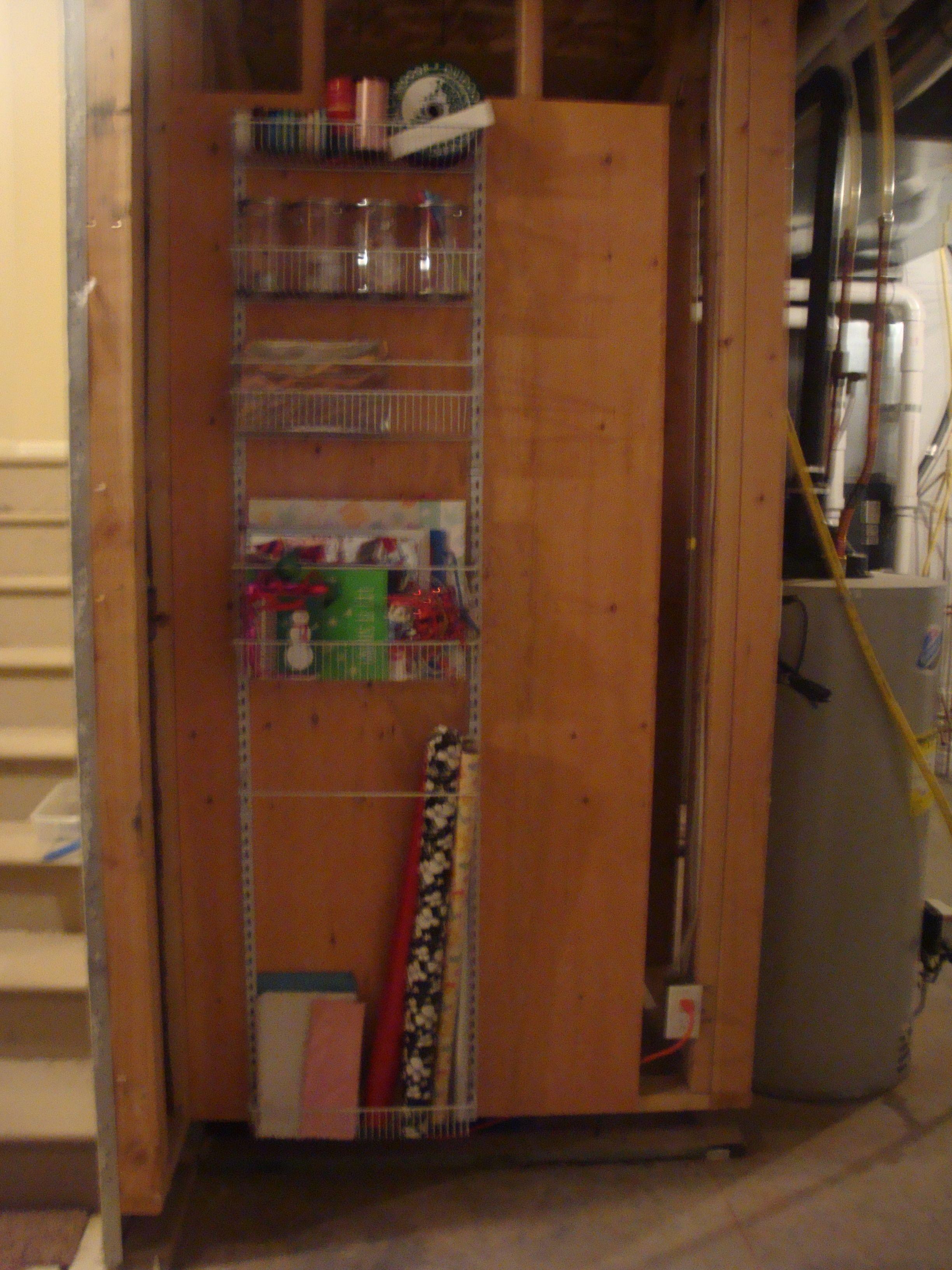 Gift wrap organizer over the doorwall pantry organizer