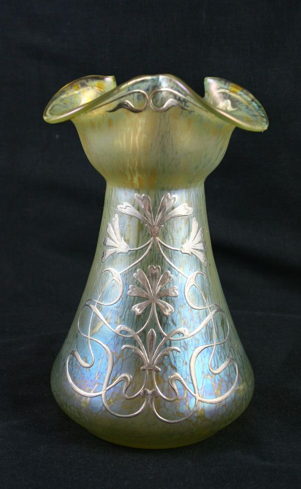 Early 20th century lemon glass vase of intricate form with beautiful papillon casing and applied silver Art Nouveau floral decoration. Austrian c.1900
