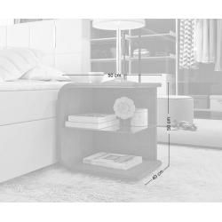 Photo of Delife Nachttisch Oscar Big 50cm hoch Weiss mit Led und Glasablage, Nachttische DeLife