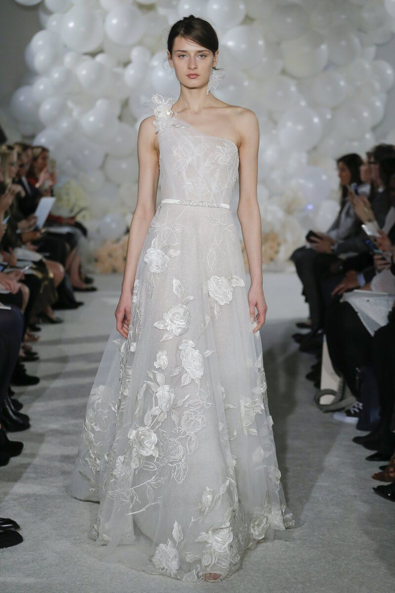 Mira zwillinger spring bridal runway show wedding dress and