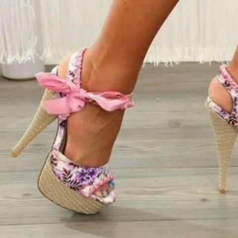763a443e457d83 There is 0 tip to buy these shoes  floral tie pink purple heels lace rose  pretty cute flowers bow style pink and purple floral high heels floral open  toe ...