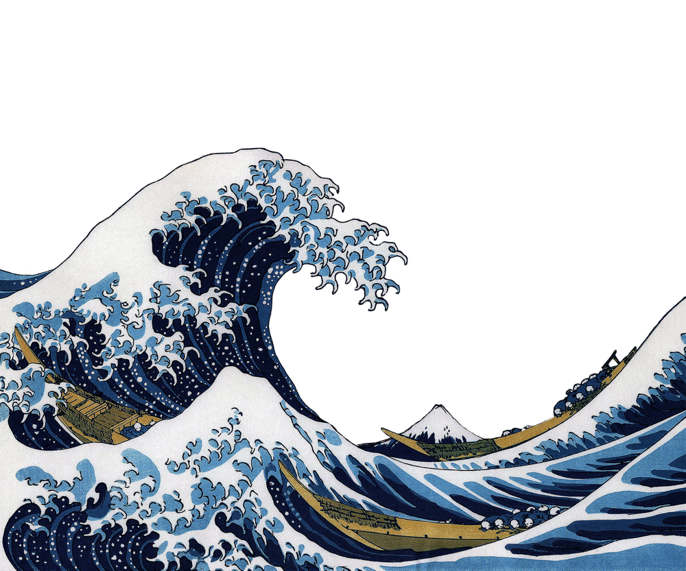 "Hokusai,""The Great Wave off Kanagawa""_white background"