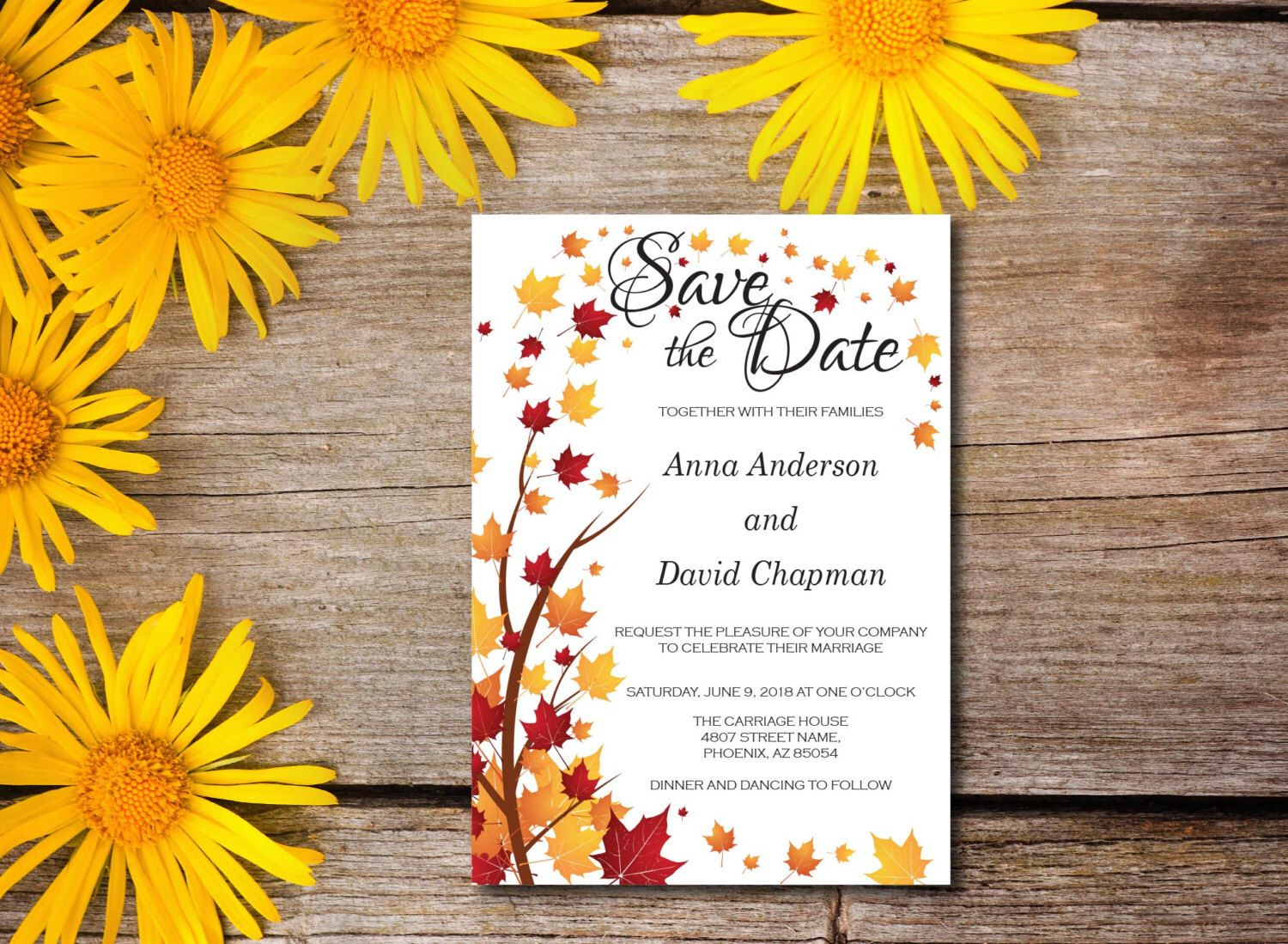 A personal favorite from my Etsy shop https://www.etsy.com/ca/listing/455351336/fall-leaves-wedding-invitation-autumn