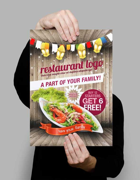 Free Styled Restaurant Flyer Template Designsave Psd Graphic
