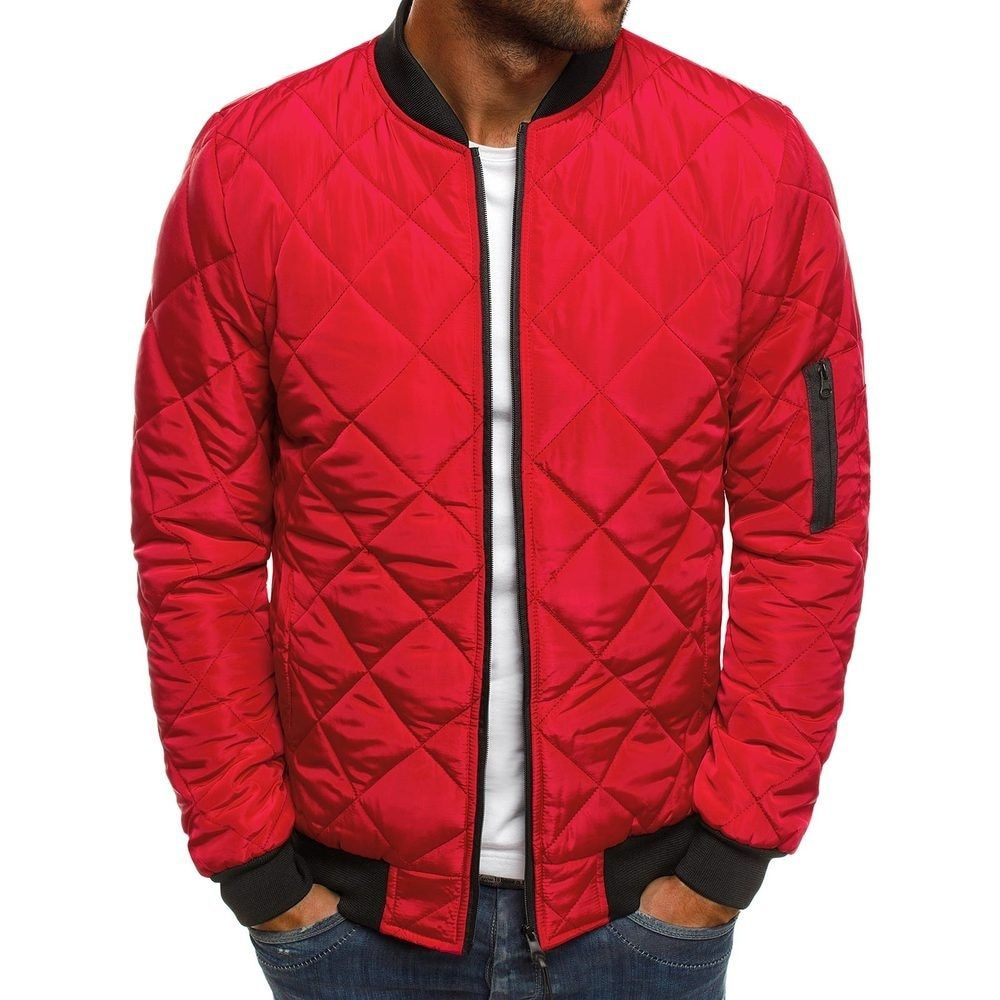Coolred-Men Stand Up Collar Solid Zip-Up Casual Skinny Parka Jacket