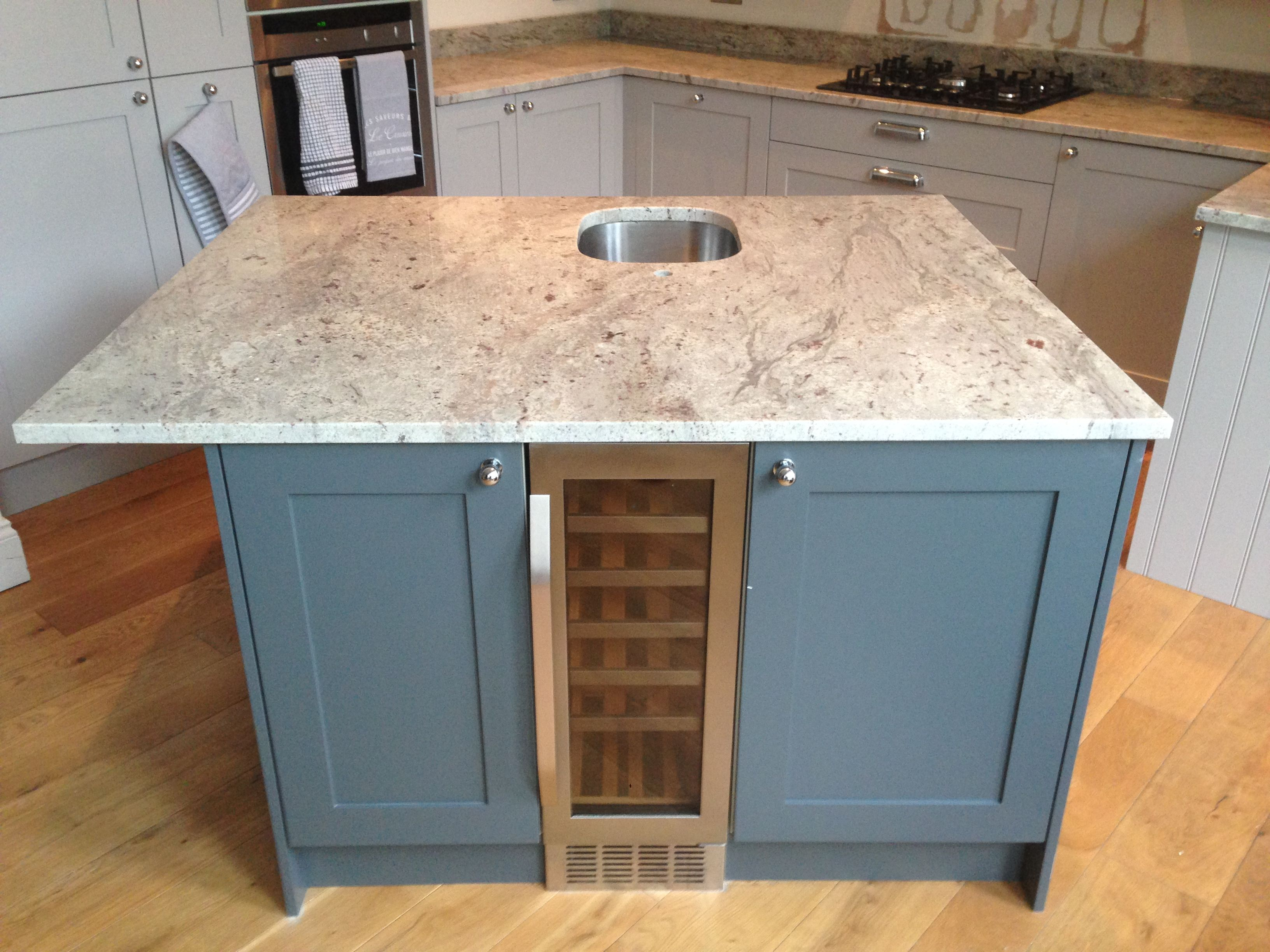 This River Valley white granite solid kitchen