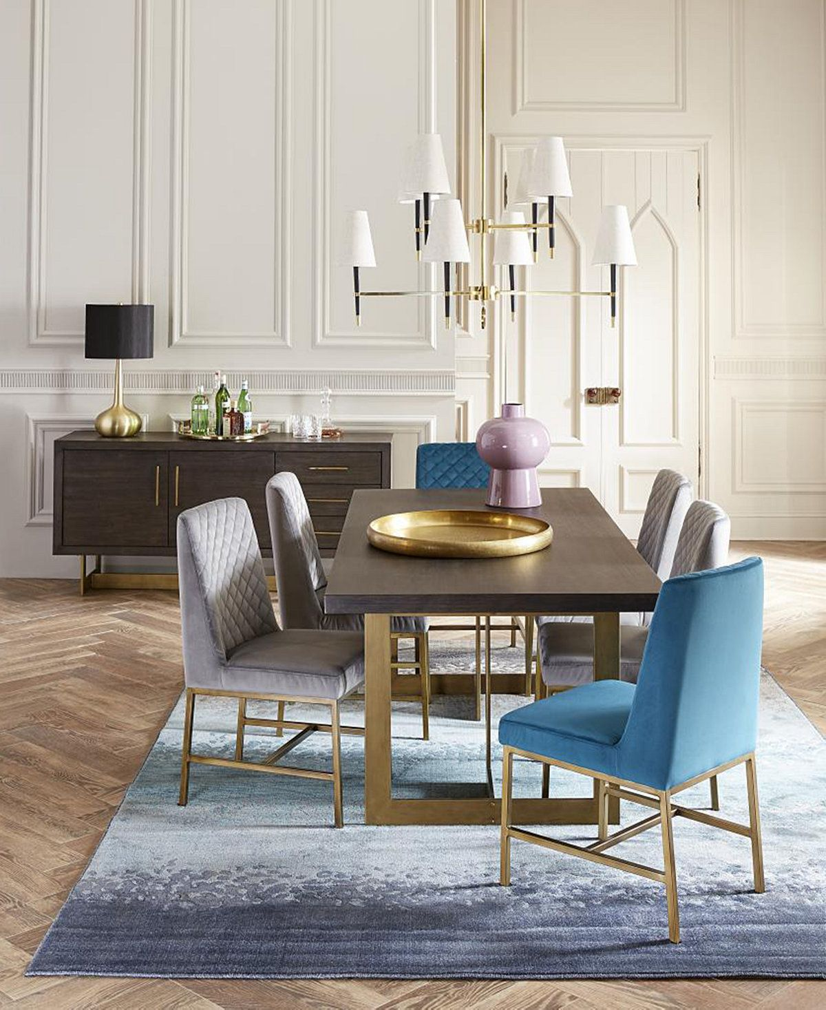 Cambridge Dining Furniture, 7-Pc. Set (Dining Table & 6 Gray Side ...