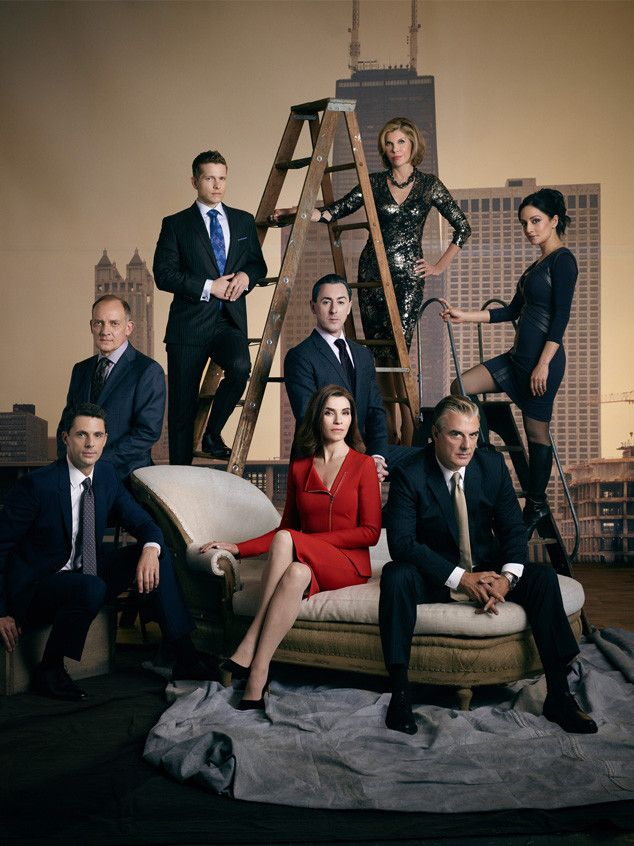 The Good Wife cast Clockwise from top: Christine Barasnki, Archie Panjabi, Chris Noth, Alan Cumming, Julianna Margulies, Matthew Goode, Zach Grenier and Matt Czuchry