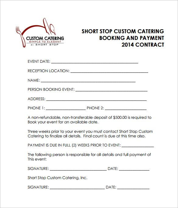 Reception Catering Contract Pdf Free Download  Catering Templates