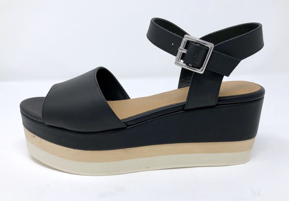 d14ffa58d8ad Dr Scholls Sandals Womens 7 M   37 Platform Wedge Shoes Corinne Black  Leather