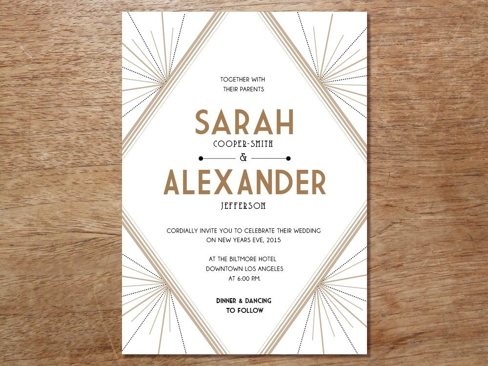 Printable Wedding Invitation Deco Invitation templates Gatsby
