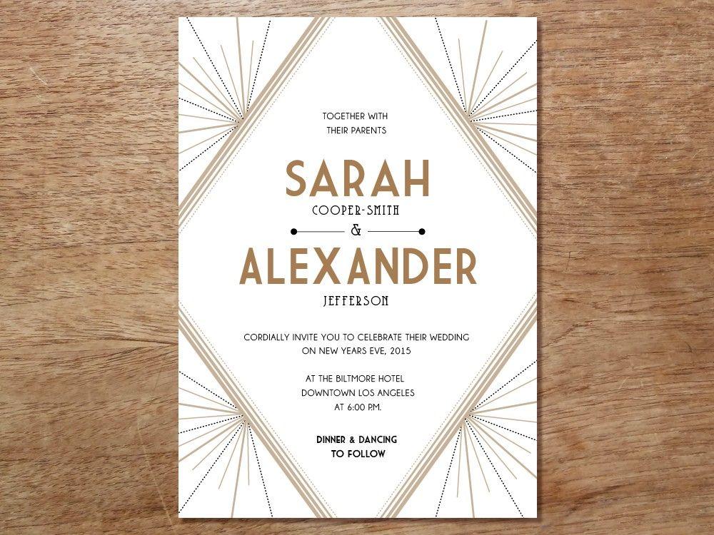 Artist Wedding Invitations: Printable Wedding Invitation - Deco
