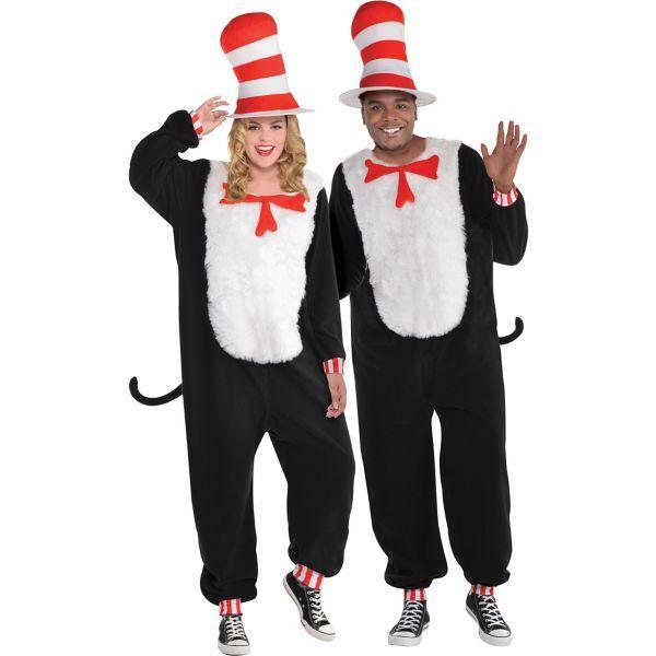 Seuss Fancy Dress Halloween Adult Costume Accessory Cat in Hat T-Shirt Kit Dr