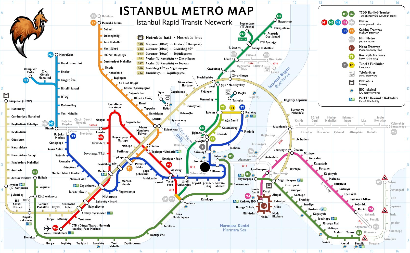 Istanbul Subway Map 2015.Map Of Istanbul Metro World Maps Istanbul Istanbul Map