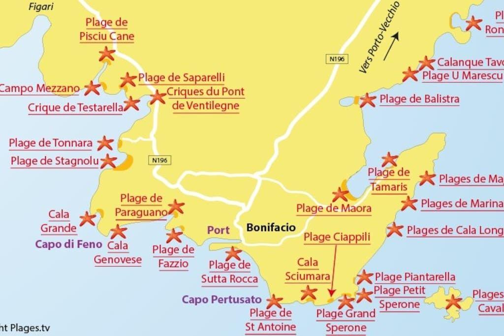 Corsica Beach Map Korsika Strand Reisen