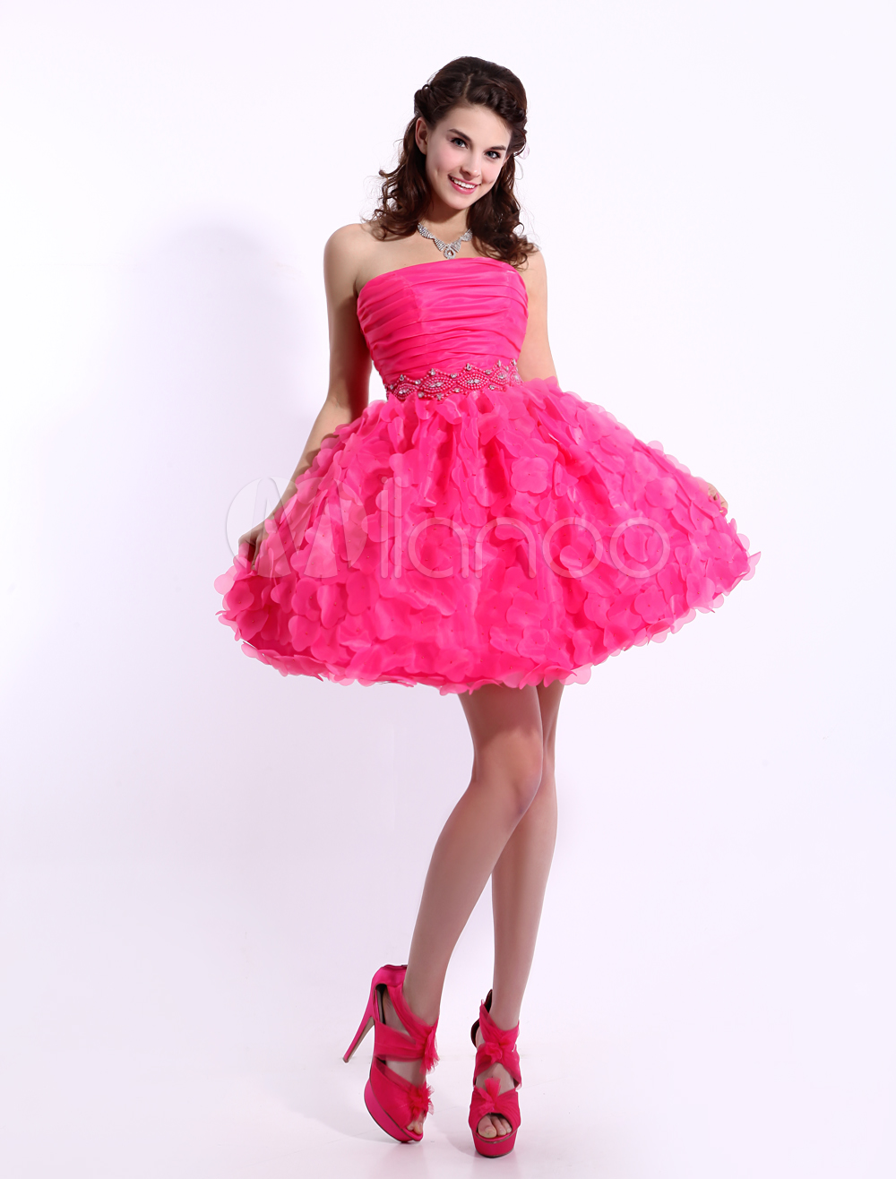 Hot Pink Cocktail Dress Organza 3D Flowers Beaded Prom Dress ...