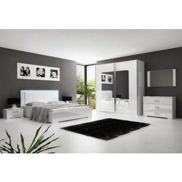 Chambre à coucher adulte blanc laqué avec éclairage LED | beaux ...