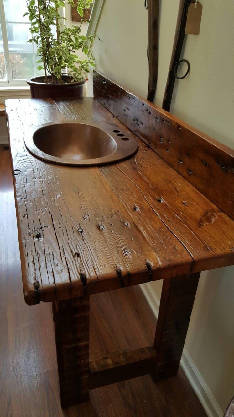Rustic Reclaimed Barn Wood Vanity With Open Shelf Custom Order Only Rustic Bathrooms Rustic Bathroom Designs Rustic Furniture