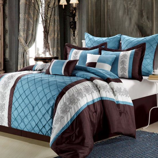 Brown Teal And White Comforter Set Blankets In 2019 Comforters